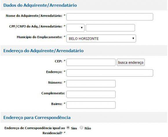 Dados do Adquirente Arrendatario