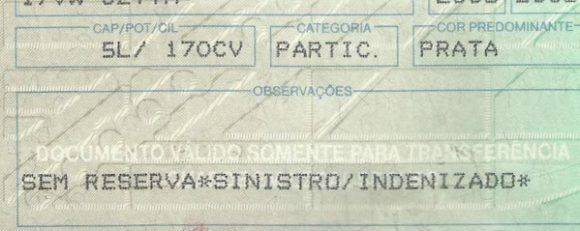 documento carro sinistrado