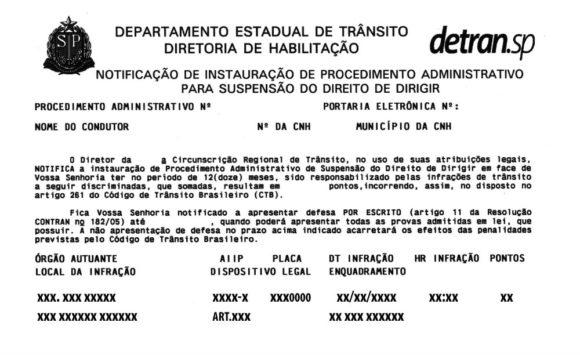 Notificação de suspensão do direito de dirigir.